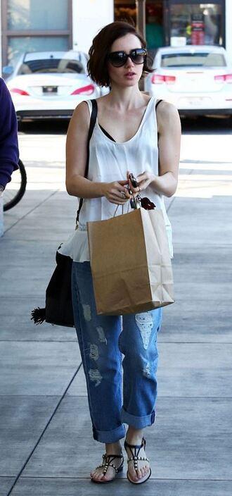 top denim boyfriend jeans sandals lily collins sunglasses