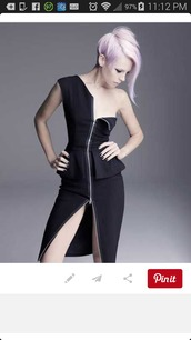 one shoulder,peplum dress,zipper dress,zip