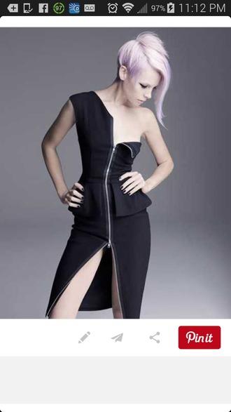 one shoulder peplum dress zipper dress zip