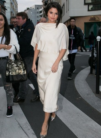 dress selena gomez white midi dress shoes