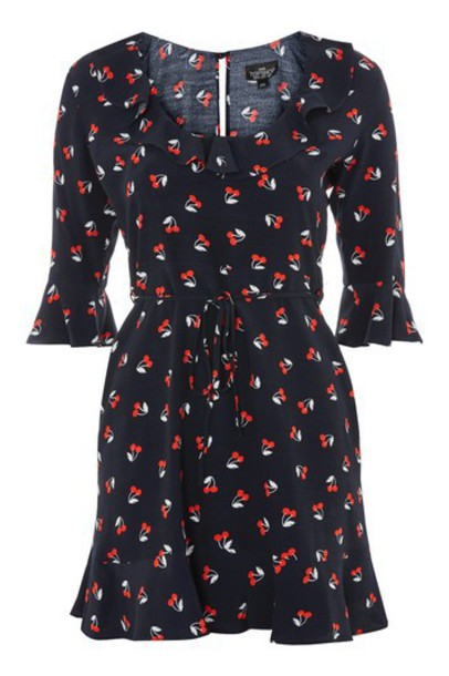 Topshop dress print dress cherry navy print blue