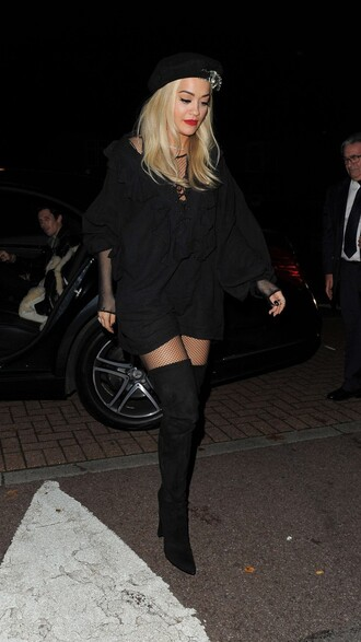jacket tunic dress tunic rita ora all black everything over the knee boots boots fall outfits oversized