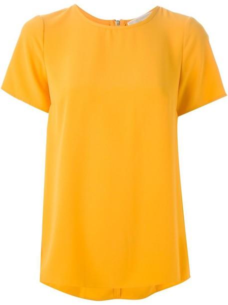 t-shirt shirt t-shirt pleated back yellow orange top