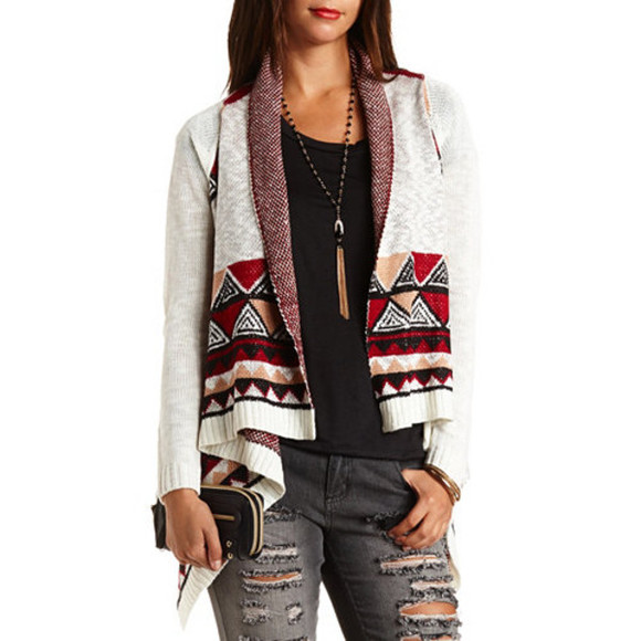 jacket bag adorable cardigan jeans style aztec sweater aztec trendy necklace falk comfy
