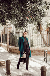 seams for a desire,blogger,coat,blouse,dress,shoes,jewels,bag,shorts,winter outfits,boots,green coat