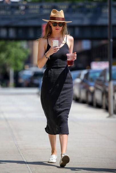 Dress Midi Summer Knit Dress Knitted Dress Midi Dress Black