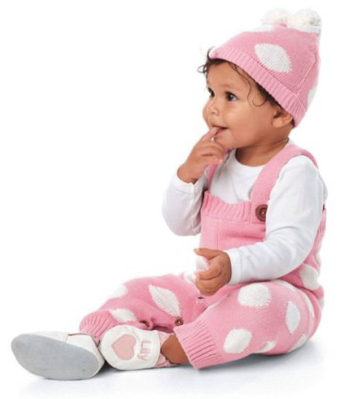 polka dots pink jumpsuit baby baby clothing baby clothes tumblr outfit baby girl pom pom beanie pink dungarees kids fashion