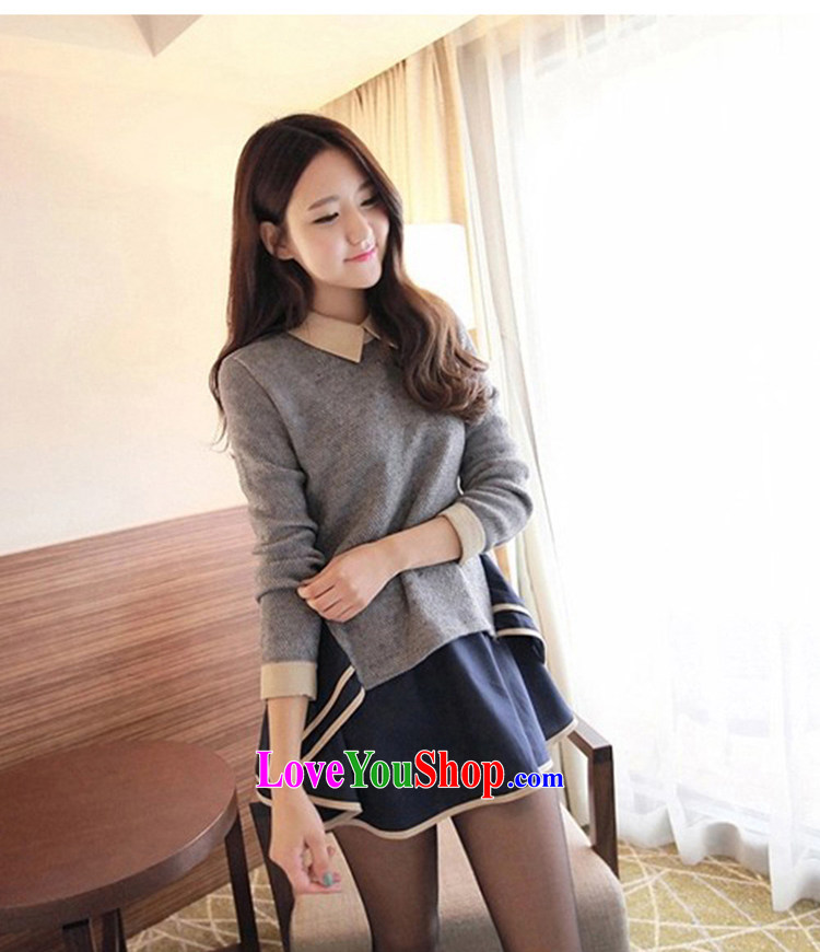 Pregnant women with autumn blouses pregnant women 2015 Skirt Kit Fall/Winter Collections Korean modern long-sleeved pregnant women in large relaxd dress long gray L