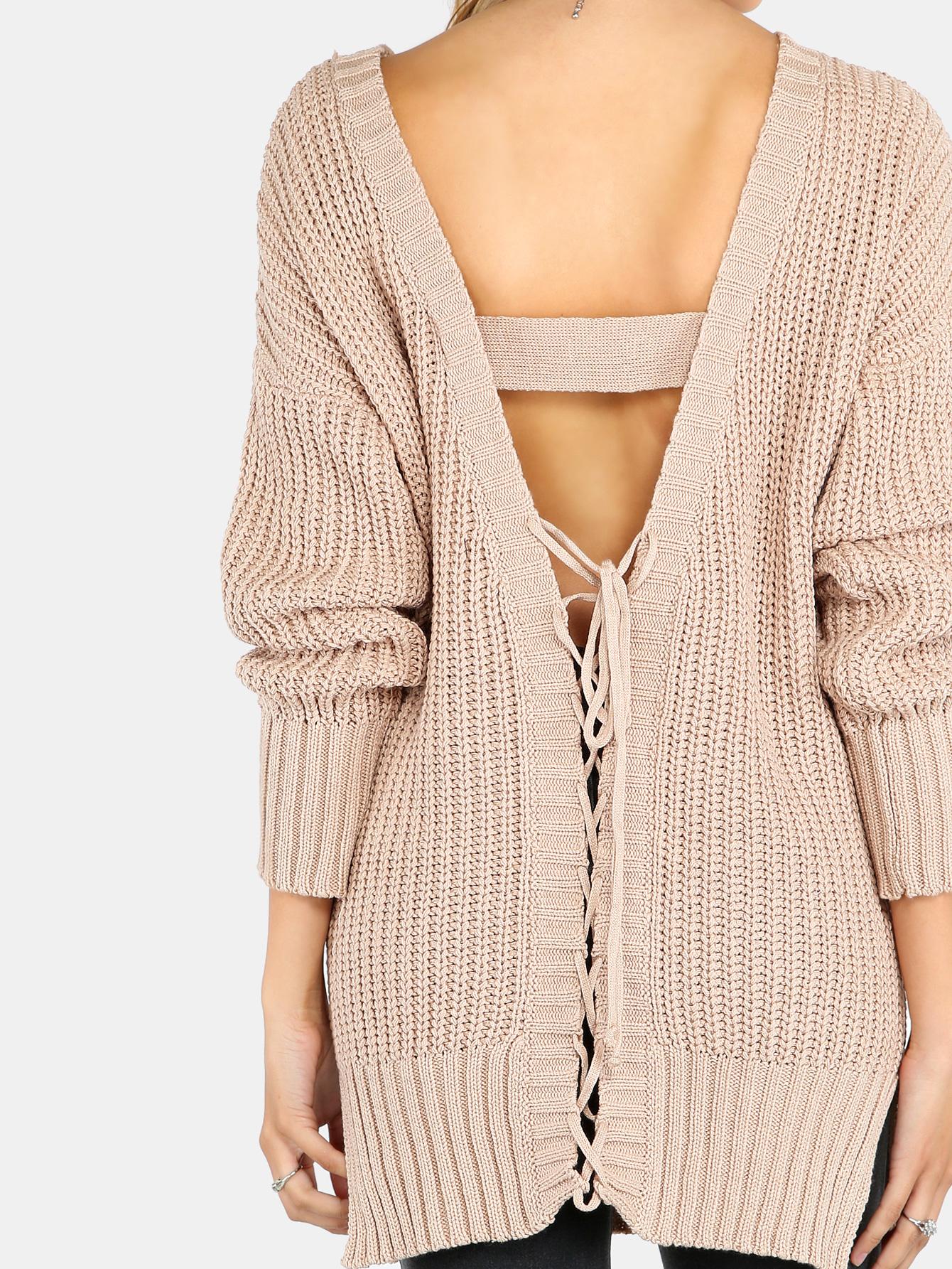 Plunging V Lace Up Back Knit Sweater CAMEL -SheIn(Sheinside)