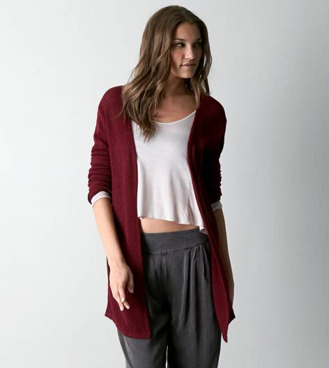Don't ask why waffle knit cardigan, burgundy