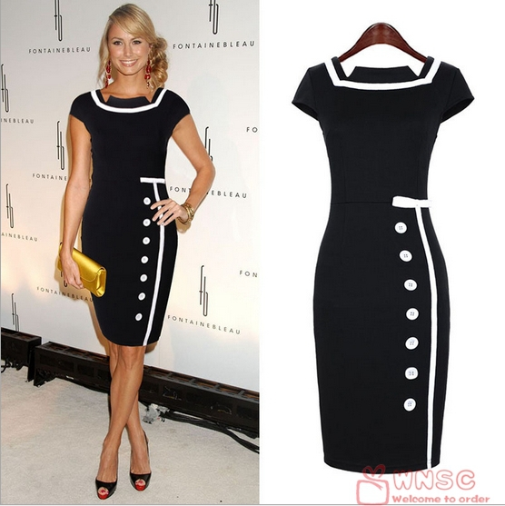 2014 New Women Business Work Sheath Bodycon Vintage Pencil Dress Career Elegant Office Black White Dress Drop Shipping A040 | Amazing Shoes UK