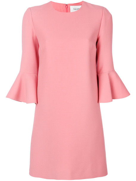 Valentino dress bell sleeve dress women silk wool purple pink