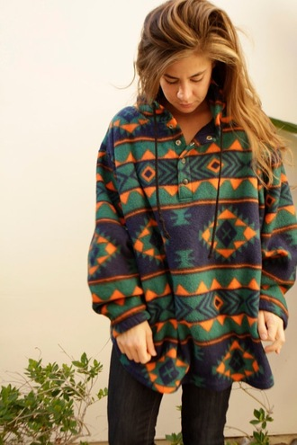 jacket clothes oversized jacket patterned sweater sweater tribal pattern pattern comfy oversized fleece colorful boho geometric hoodie aztec oversized sweater boho shirt boho chic hippie cute winter sweater winter jacket winter outfits top long sleeves hipster pullover sweatshirt fleece lining fall sweater summer top style trendy grunge vintage printed sweater fleece jackets hippie chic jumper baggy sweaters aztec sweater coat mexican green blue orange