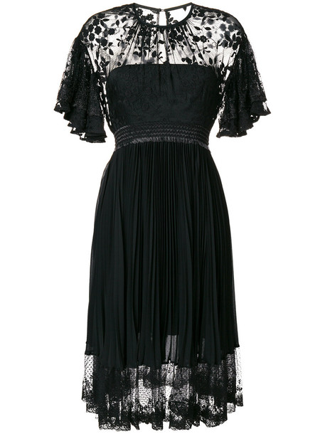 Three Floor dress lace dress pleated women lace cotton black