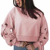 sweater,pink,laces,tied sleeves,crop,top,long sleeves,cute,fashion,forever,ivrose,shein