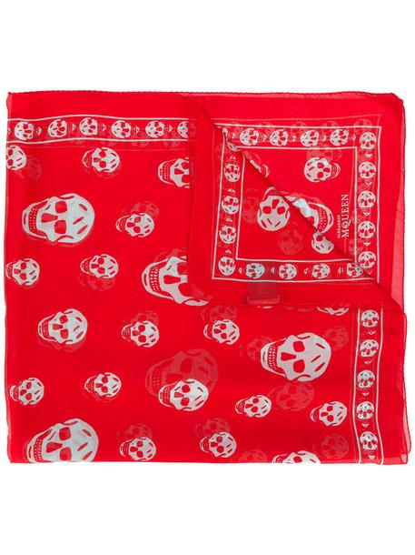 skull women scarf silk red
