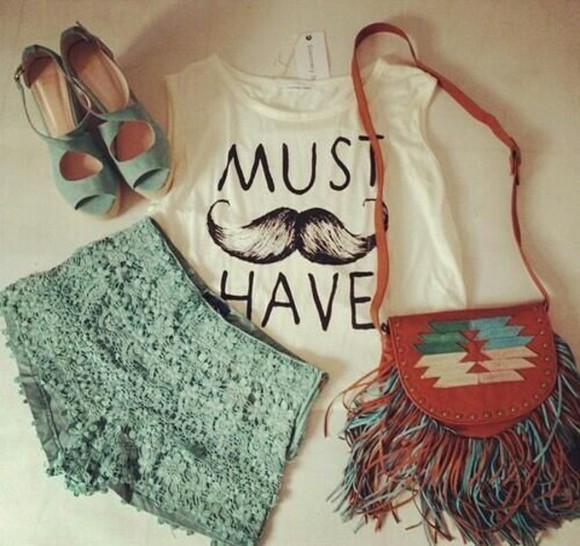 bag moustache bags summer shoes green sexy shorts lace summer top shirt tank top