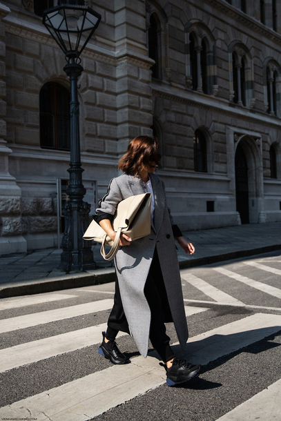 coat checkered sneakers bag white t-shirt winter coat long coat