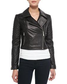 Cropped Mixed-Sleeve Leather Moto Jacket, Black