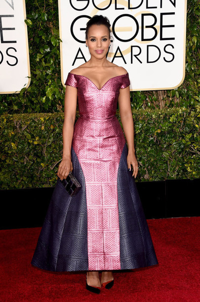 dress kerry washington mary katrantzou Golden Globes 2015 off the shoulder dress