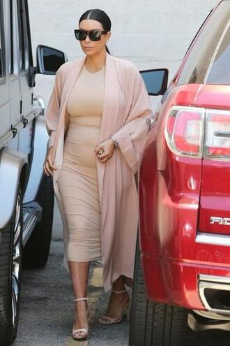 coat dress bodycon dress kim kardashian nude nude dress sandals summer dress