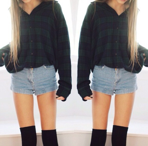 blue green plaid flannel tumblr outfit flannel shirt plaid cropped top crop tops country