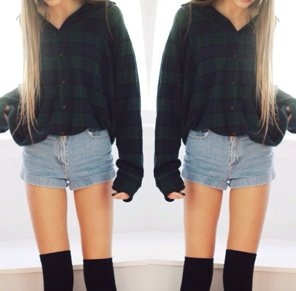plaid flannel green blue tumblr outfit plaid shirt plaid cropped top crop tops country