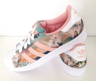 shoes adidas stan rose flowers adidas originals adidas superstars pink pink shoes adidas shoes colorful