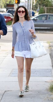 blouse,emmy rossum,polka dots,shoes,bag
