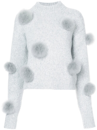 jumper women embellished grey sweater