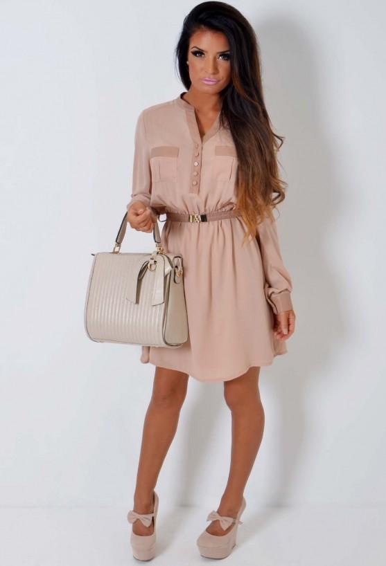 Nude Chiffon and Leatherette Shirt Dress   Pink Boutique