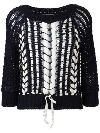 jumper knit women spandex cotton blue sweater