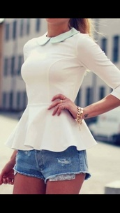 shirt,t-shirt,jewels,blouse,top,coat,white peplum top,skirt,jewelry,shorts,pants,white,sexy,peplum top,girly,white top,white blouse,fit and flare,elegant,elegant top,long sleeves,sweater,cute,fall outfits,fashion,style,casual,collar,peplum,white flare