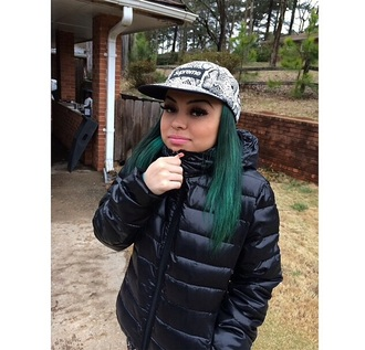coat supreme supreme snapback green green hair animal print puff coat winter coat latinas cute
