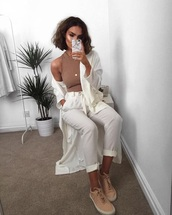 pants,white,loose,cream,cropped,belt,tie,gathered