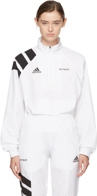jacket zip adidas originals white
