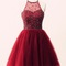 Beautiful wine red halter tulle short prom dresses, homecoming dresses