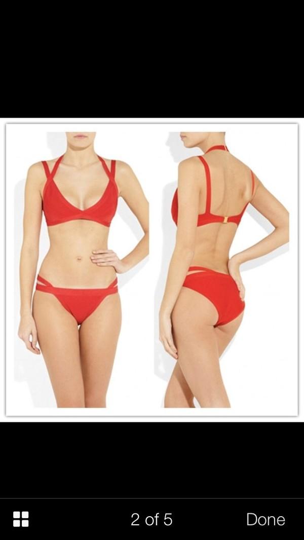 swimwear red bandage bikini