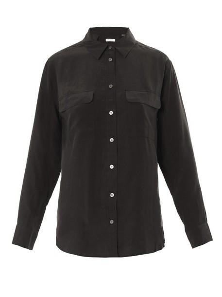 Equipment shirt silk black top