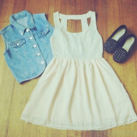 denim vest dress black shoes white dress studs