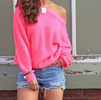 sweater bright pink pink sweater oversized sweater oversized sweater weather