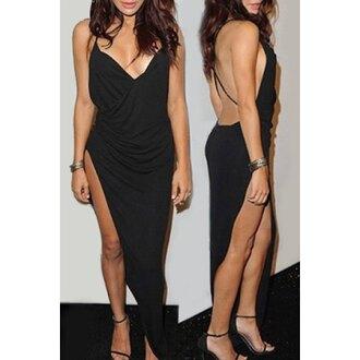 dress black dress black sexy backless backless dress nightwear long dress strappy prom dress club dress