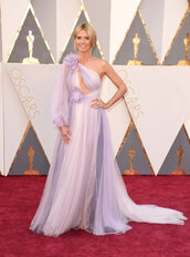 dress,asymmetrical dress,purple,heidi klum,gown,wedding dress,prom dress,red carpet dress,oscars 2016,one shoulder