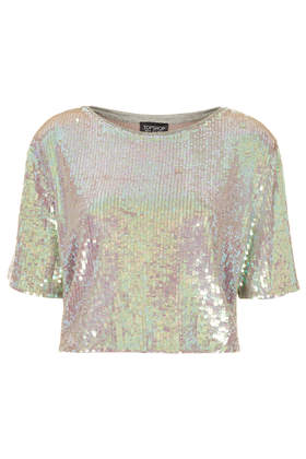 All Over Sequin Tee - Tops  - Clothing  - Topshop