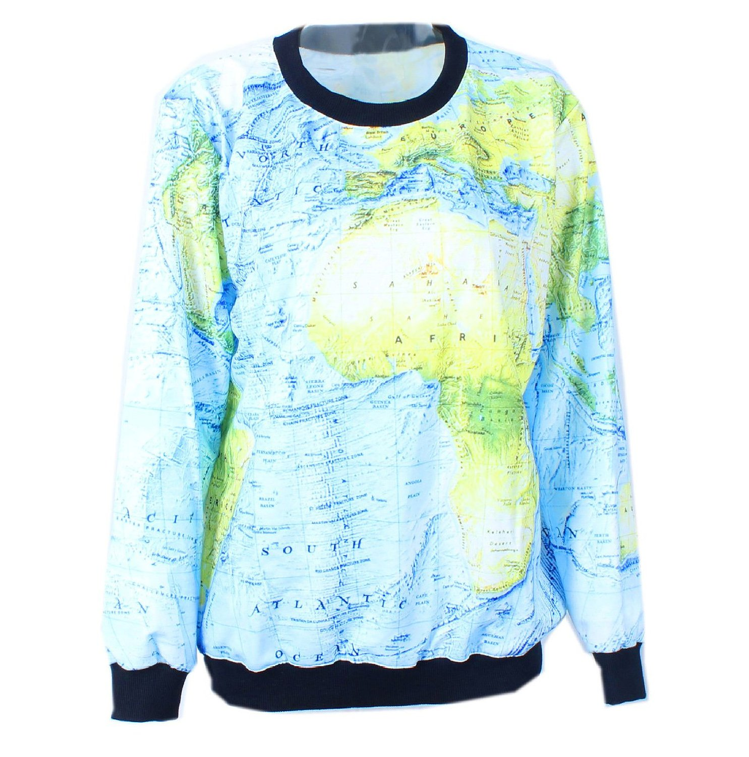 Shirt trendy printed long sleeves pullover world map at amazon unisex shirt trendy printed long sleeves pullover world map at amazon womens clothing store gumiabroncs Images