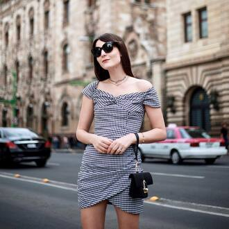 dress tumblr gingham gingham dresses mini dress wrap dress off the shoulder off the shoulder dress sunglasses bag black bag mini bag