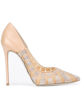 pointed toe pumps embellished pumps nude shoes