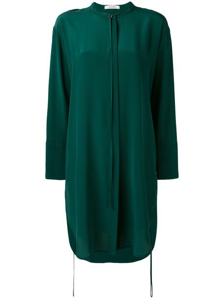 dress shirt dress women silk green