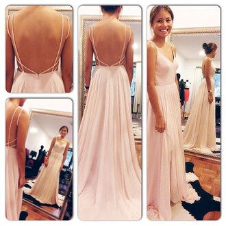 dress backless dress open back maxi dress wedding reception dress destination wedding evening dress long dress long prom dress long party dress backless prom dress prom dress prom pink long pink dress peach dress baby pink beautiful reallywant really love blush pink cute