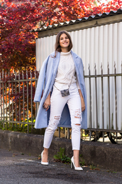the fashion fraction,blogger,white jeans,knitted sweater,cropped pants,white shoes,winter coat,light blue,winter outfits